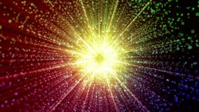 Abstract particles gathering in the center of virtual space. A bright light tunnel of particles. Looped. Abstract space with particles gathering in the center. A stock video footage