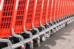 Abstract parts of red baskets-carts for goods Royalty Free Stock Image
