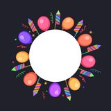 Abstract party background with colorful balloons and fire cracke. Rs Stock Illustration