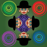 Abstract party genius. Four party genius with hat over green gradient Royalty Free Stock Images