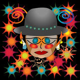Abstract party genius. Party genius with hat over black background Royalty Free Stock Photos