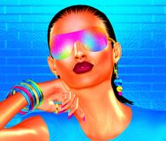 Abstract party girl with brunette hair. Sunglasses and matching accessories that come together to create this high energy, beauty and fashion mage. 3d rendered Royalty Free Stock Image
