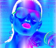 Abstract party girl with brunette hair. Sunglasses and matching accessories that come together to create this high energy, beauty and fashion mage. 3d rendered Stock Photography