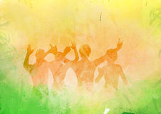 Abstract Party People. In splatter colored background Royalty Free Stock Image