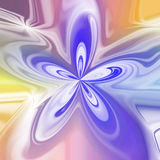 Abstract pastel colored bloom shape in violet and yellow Stock Image
