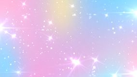 Abstract Pastel Fairy background with rainbow mesh. Kawaii universe banner in princess colors. Fantasy gradient backdrop with. Magic sparkles, stars and blurs royalty free illustration