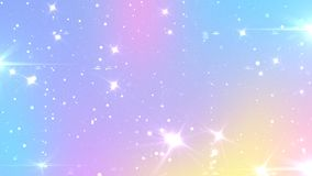 Abstract Pastel Fairy background with rainbow mesh. Kawaii universe banner in princess colors. Fantasy gradient backdrop with. Magic sparkles, stars and blurs vector illustration
