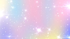 Abstract Pastel Fairy background with rainbow mesh. Kawaii universe banner in princess colors. Fantasy gradient backdrop with. Magic sparkles, stars and blurs stock illustration