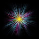 Abstract pastel starburst against black Stock Photo
