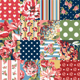 Abstract patchwork with flowers. Vector seamless pattern in custom colors vector illustration