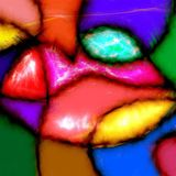 Abstract Patchwork Lips. Digitally created patchwork lips painted with bold colors and abstract shapes Stock Photos