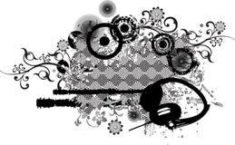 Abstract Patroon Grunge met Hoofdtelefoons Stock Foto's
