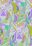 Abstract patroon met elementen van veren van vogels en vissen royalty-vrije illustratie