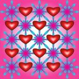 Abstract patroon met harten en bloemen Stock Afbeelding
