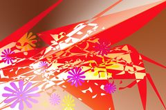 Abstract patroon met multi-colored elementen die vaag op een zeekreeft lijken royalty-vrije illustratie