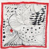 Abstract patroon met rode bloem op hoofdsjaal Royalty-vrije Stock Afbeeldingen