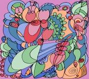Abstract patroon met rozen op roze achtergrond stock illustratie