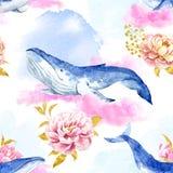 Abstract patroon met walvissen Royalty-vrije Stock Afbeeldingen