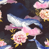 Abstract patroon met walvissen Royalty-vrije Stock Afbeelding