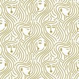 Abstract patroon van hoofden met haar royalty-vrije illustratie