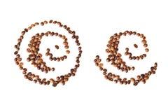 Abstract patroon van koffiebonen Stock Afbeeldingen