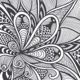 Abstract patroon in zen-Verwarring zen-Krabbel stijlzwarte op wit Royalty-vrije Stock Foto