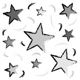 Abstract pattern. With stars and grunge look over white background stock illustration