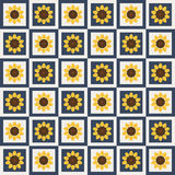 Abstract Pattern Background With Colorful Squares And Sunflowers Stock Photography