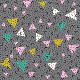 Abstract pattern background with pink, white and green triangles, black angles and points. Memphis style seamless pattern. Colorful geometric trend. Bright royalty free illustration