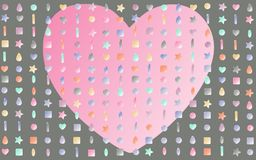 Lots of beads and a heart of love. Abstract pattern background of small beads of different colors and shapes and a pink big love heart on a gray background Royalty Free Stock Image