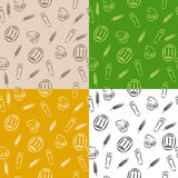 Abstract pattern beer glass barrel cup wheat brown beige orange yellow green white black seamless illustration. Vector Stock Photo