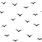 Abstract pattern with birds, v-pattern background, vector illustration, handdrawn birds Stock Photo