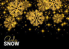 Abstract pattern on black background. Random Falling Gold Snow. Flakes. Glitter pattern for banner, greeting, Christmas and New Year card, invitation, postcard Stock Image