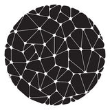 Abstract pattern of black geometric elements grouped in a circle Stock Photo