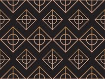 Abstract pattern. black gold color texture with rectangle, and c. Ircle. Seamless tiling background royalty free illustration