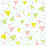 Abstract pattern blue background with green, pink and yellow triangles and grey points. Memphis style seamless pattern. Colorful geometric trend. Bright vector illustration