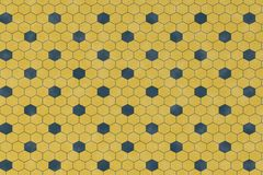 Abstract pattern with blue geometric hexagonal shape. On yellow background and wall textured for wrapping paper design Royalty Free Illustration