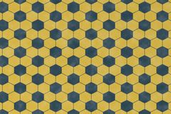 Abstract pattern with blue geometric hexagonal shape. On yellow background and wall textured for wrapping paper design Vector Illustration