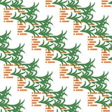 Abstract pattern with bricks and leaves on white vector illustration
