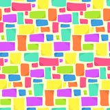 Abstract pattern with bright colorful rectangles. Abstract seamless pattern with bright colorful rectangles on light background. Fashion trendy vector texture royalty free illustration
