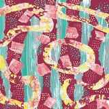 Abstract pattern on burgundy background with collage of green stripes and yellow shapes stock illustration