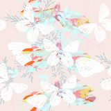Abstract pattern with butterflies florals in spring colors. Abstract pattern with butterflies and florals in spring colors Stock Photos