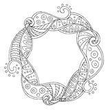 Abstract pattern circle wave frame black white background illustration Stock Image