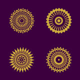 Abstract pattern circles with bodhi concept asia art style isolate on black background, vector & illustration. Abstract pattern circles with bodhi concept asia Royalty Free Stock Images