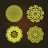 Abstract pattern circles with bodhi concept asia art style isolate on black background, vector & illustration. Abstract pattern circles with bodhi concept asia Royalty Free Stock Photos