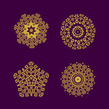 Abstract pattern circles with bodhi concept asia art style isolate on black background, vector & illustration Royalty Free Stock Images