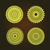 Abstract pattern circles with bodhi concept asia art style isolate on black background, vector & illustration Stock Photography