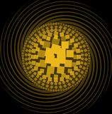 Abstract pattern composed of yellow squares, circle shape on swirl beams, black background Royalty Free Stock Photo