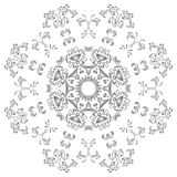 Abstract pattern, contours. Abstract floral pattern, black contours on white background. Vector Stock Photo