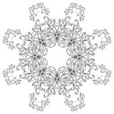 Abstract pattern, contours. Abstract floral pattern, black contours on white background. Vector Stock Photography